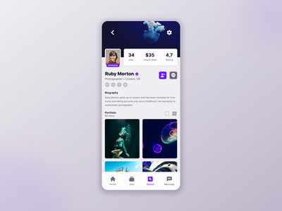 DailyUI 006 - User Profile Page/Screen mobile ui uxui ux ui app profile design profile page page profile mobile dailyuichallenge 006 dailyui 006 dailyui