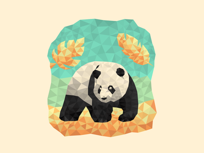 Poly Panda illustration triangles polygons poly bear panda
