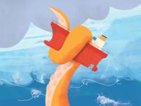 Tha mightier kraken kraken sea ocean boat monster cartoon paint photoshop myth water