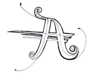 A Drop handdrawn drop-cap a lettering letter alphabet pad pen