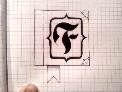 F Book book ink handrawn pen fraktur f lettering logo wip design