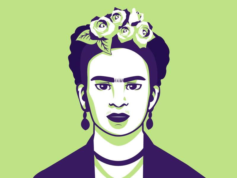 Frida Kahlo fridakahlo frida vector mexico artist shot portrait art portrait illustrator graphic design illustration flat character design design adobe illustrator