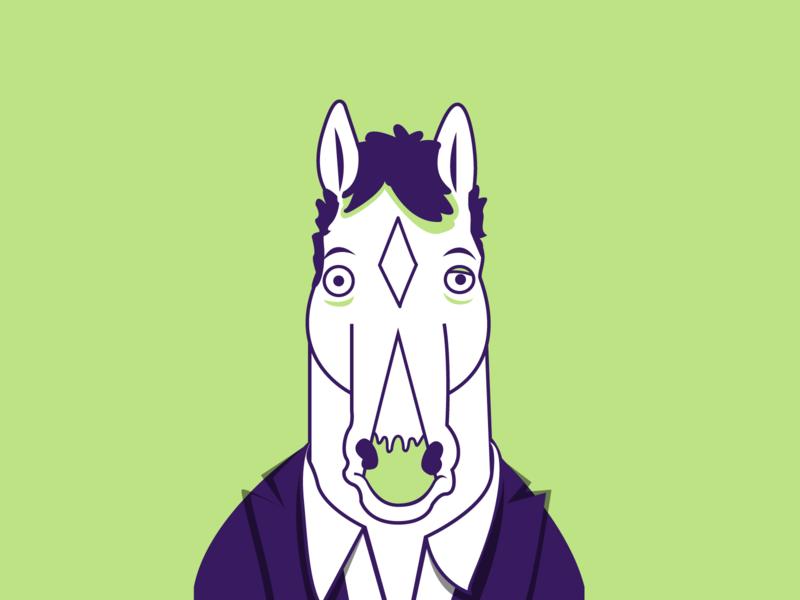 BoJack sad bojack netflix purple green bojack horseman illustrator dribbble vector shot portrait art portrait illustration graphic design flat design character design adobe illustrator