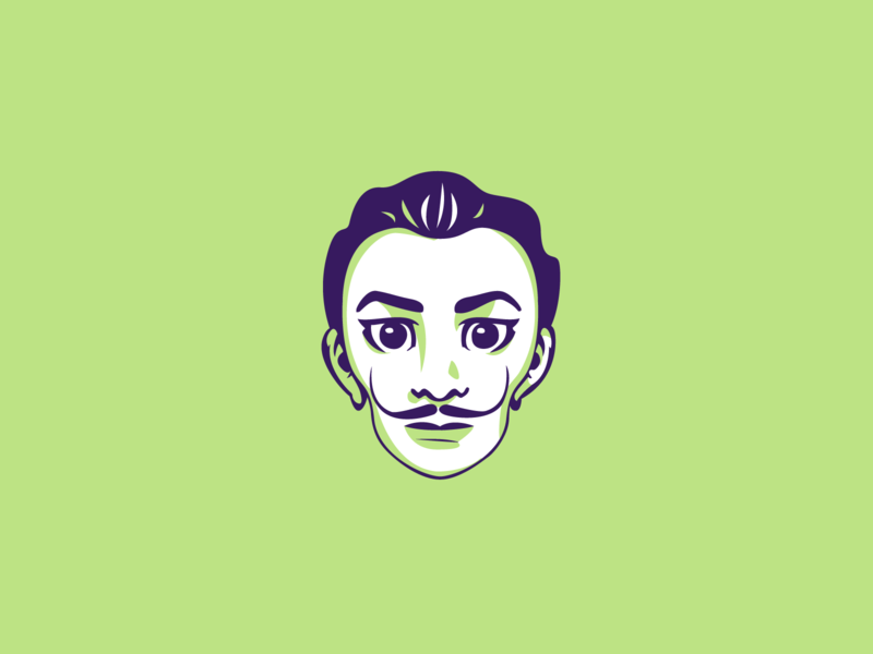 Salvador Dalì salvador dali painter artist dribbble portrait art vector shot portrait illustrator illustration graphic design flat design character design adobe illustrator