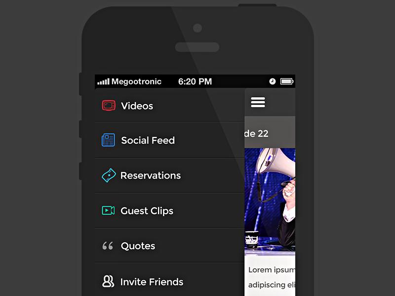 Side_Menu_1.0 ios app drawer flatttt videos black grey icons strokes photoshop