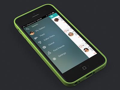 Side Menu 🔜 ios7 app ui side menu navigation icons radio instaradio white teal