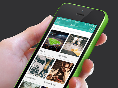 Browse 🎶 instaradio categories sports tech listen teal ios7 app ui