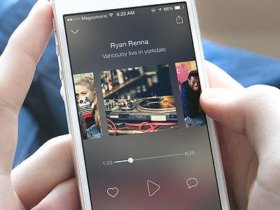 Fullscreen Playlists 📻 ios app design instaradio broacast fullscreen interactions ui