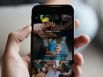 STAND stand visuals charity social ui ux app design ios