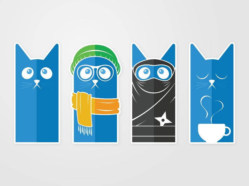 Kitties cats hipster ninja coffee illustration kitties
