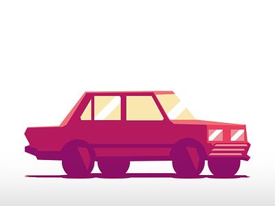 Sun-Bleached Car vehicle car vector designs designer design art design illustration drawing