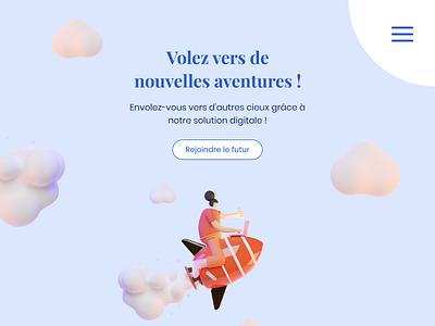 Webdesign - Having fun with 3D library rocket orange burger menu blue clouds