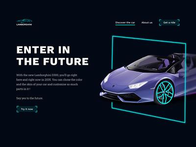 Landing page - Future car landing page cyan blue neon future car