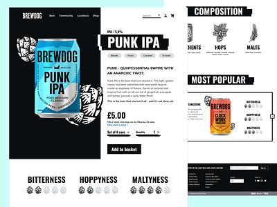 Webdesign - Rethinking Brewdog's product page white black blackandwhite punk product page product brewdog malts hops beer