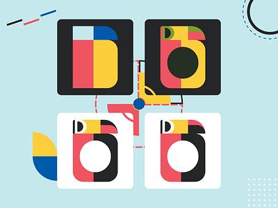 36 days of type - B... auhaus. toucan logo toucans toucan logo shapes colors 36daysoftype letters bauhaus