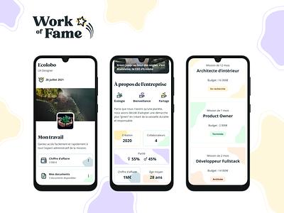 Responsive Design - Work of Fame ui plateform freelancers star fame responsive mobile design colors pastel