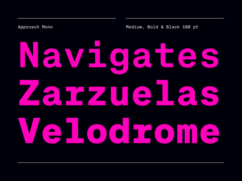 Approach Mono monospaced monospace black pink free trials free new release emtype design barcelona typography type sans new font font
