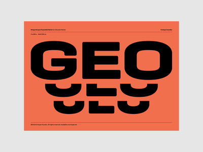 Geogrotesque Expanded Series PDF Specimen pdf trials blue yellow orange design typography typeface barcelona emtype font geogrotesque new