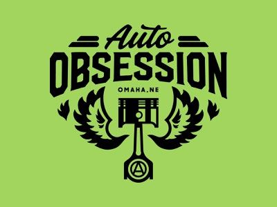 Auto Obsession Logo identity logo repair wings flames lime green green piston car hot rod obsession auto