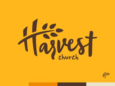 Harvest Church Omaha embroider simple design yellow wheat harvest church logo