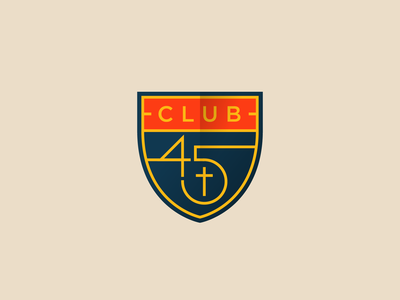 Club 45 Logo shield badge cross church 45 club