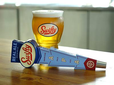 Real Ale Swifty Tap handle tap handle alcohol vintage badge branding logo beer script