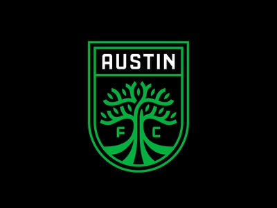 Austin FC mls tree austin soccer crest badge typography branding logo