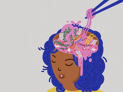 SOUP BRAIN existential procreate illustrator design illustration brainstorm tired brain soup