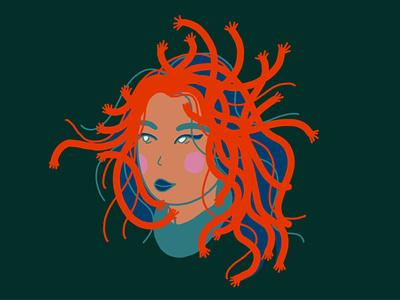 ALWAYS THINKING hands snakes medusa hand drawn alone flat existential procreate illustrator design illustration