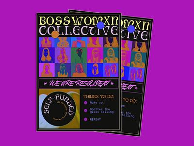 BOSS WOMXN COLLECTIVE neon design poster bosswomencollective bwc