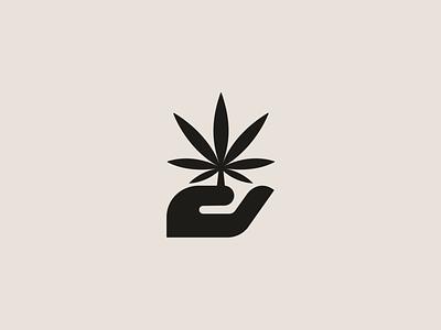 Cannabis Brand hand leaf marijuana hemp cure cultivate cannabis mark logo symbol branding