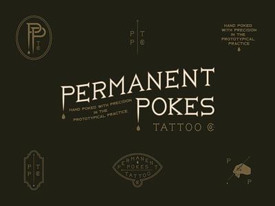 Hand Poke Tattoo Artist Branding hand poked hand design logo lettering custom branding typography hand lettering pokes permanent tattoo stick and poke