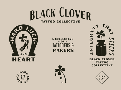 Tattoo Collective Branding ink font design font lettering custom branding typography tattoo artist tattoo clover black