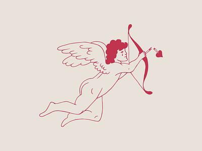 Cupid branding heart illustration wings lost valentine valentines day