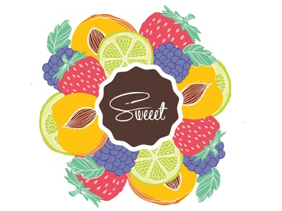 Sweet Logo and Fruits
