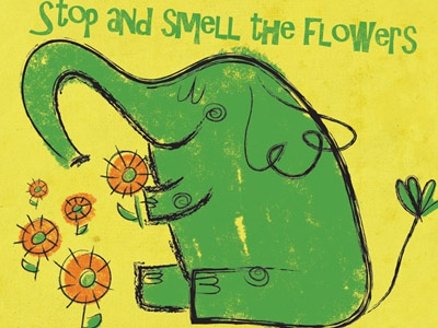 Stop and Smell the Flowers elephant retro flowers
