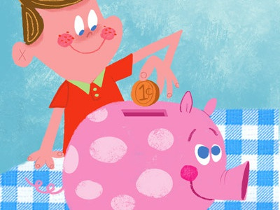 A Penny A Day... illustration retro children