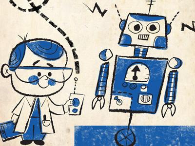 Science Fair retro illustration robot