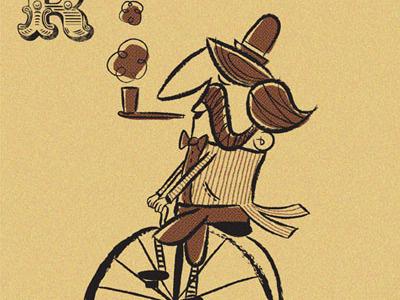 ride retro bike illustration