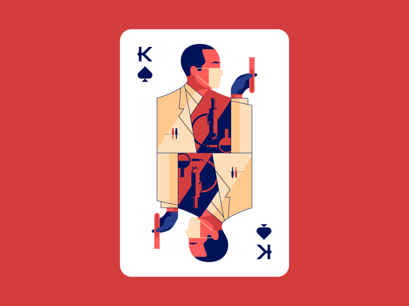 Scientist, the King of Spades. flat 2d vector illustration corona virus covid-19 vector illustration playing card king of spades cards