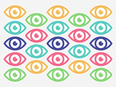 All eyes on me icons colorful pattern sticker eye eyes