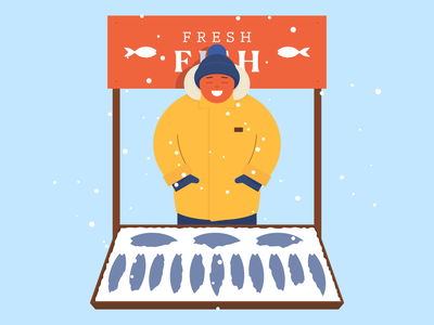 Quarantine Illustration happy cold snow winter banner booth flat design character guy market fish affinitydesigner illustration