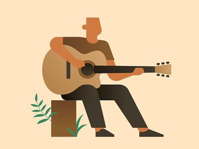 Quarantine Illustration 3 - Guitarist music plant outdoor tree tree bark character nature acoustic guitarist guitar
