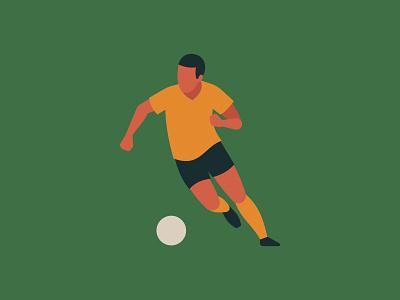 Quarantine Illustration 4 - Football player sport field training running flat illustration athlete ball soccer football