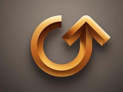 Arrow realistic skeuomorphic illustration vector 3d recycle up refresh sign mural symbol icon logo monogram arrow