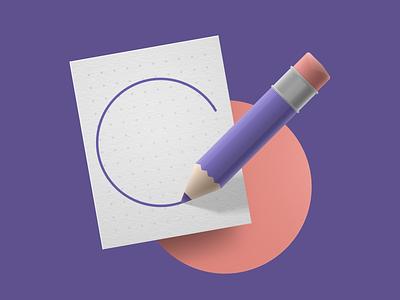 Sketch illustration ux ui design icon vector texture textured illustrator circle paper pencil sketch
