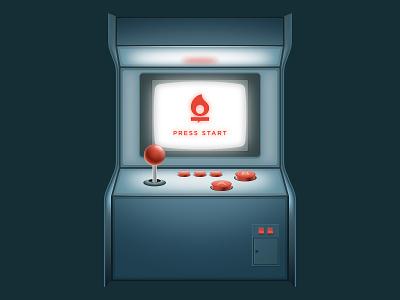 Arcade affinity designer 2d 3d vintage retro design joy stick ui vector illustration icon play console video game arcade
