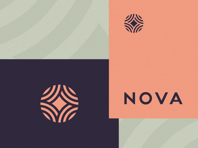 Nova space flat icon 2d vector pattern branding minimal planet nova logo star