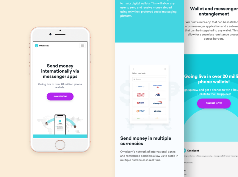 Omnisent Landing Page - Mobile