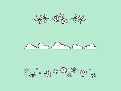 Shopify Email Illustrations: Borders autumn seasonal summer winter fall spring halloween holidays dividers decorative borders shopify graphic design illustration